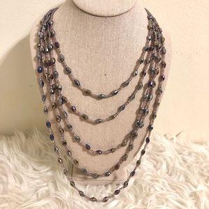 Long Purple Beaded Cookie Lee Necklace
